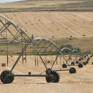 Riego mecanizado en campo de cereal