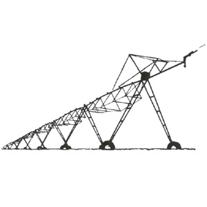 dibujo de un sistema de riego por pivote central