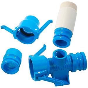 Accesorios de PVC azul para cobertura