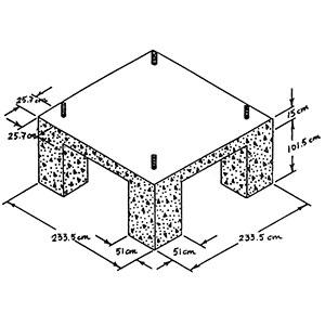 Cimentación con hormigón de la base de un Pivot fijo